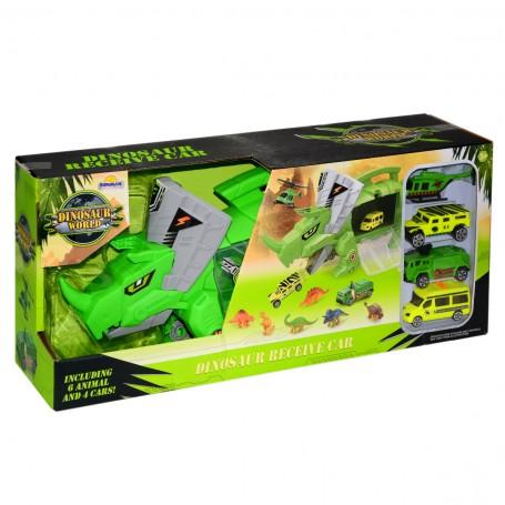 Dinozor Garaj Seti | 4 Araç - 6 Dinozor