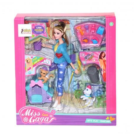 Miss Love Gaga Evcil Hayvanlı Bebek Oyun Seti